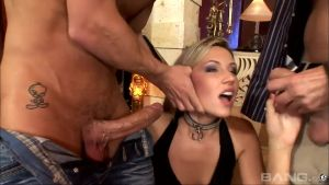 Lustful beauty has hard received from three studs