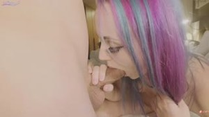 Young girl with purple hair cum in creampie style