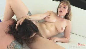 Blonde with bush squirts on tattooed brunette